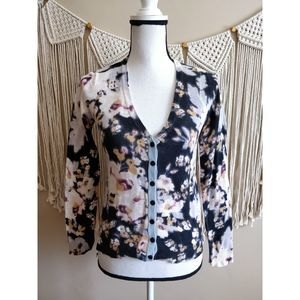 Anthropologie Black White Floral Print Cardigan S